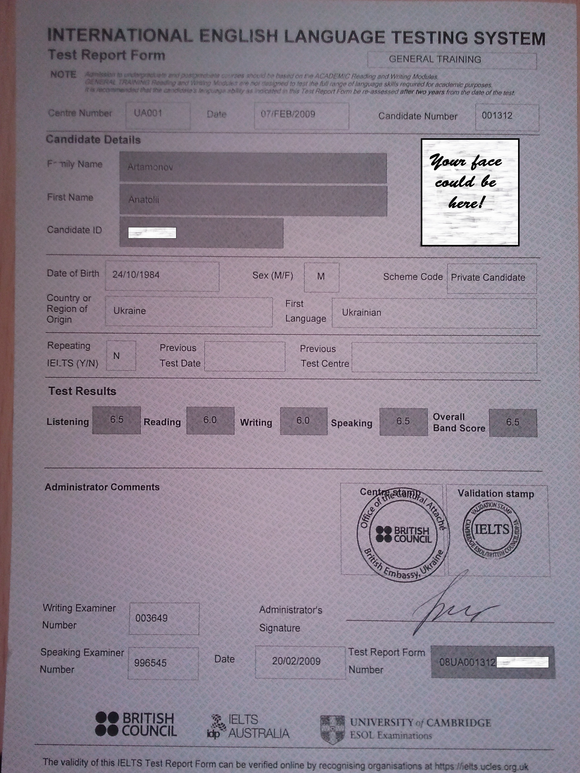Anatolii's IELTS Results