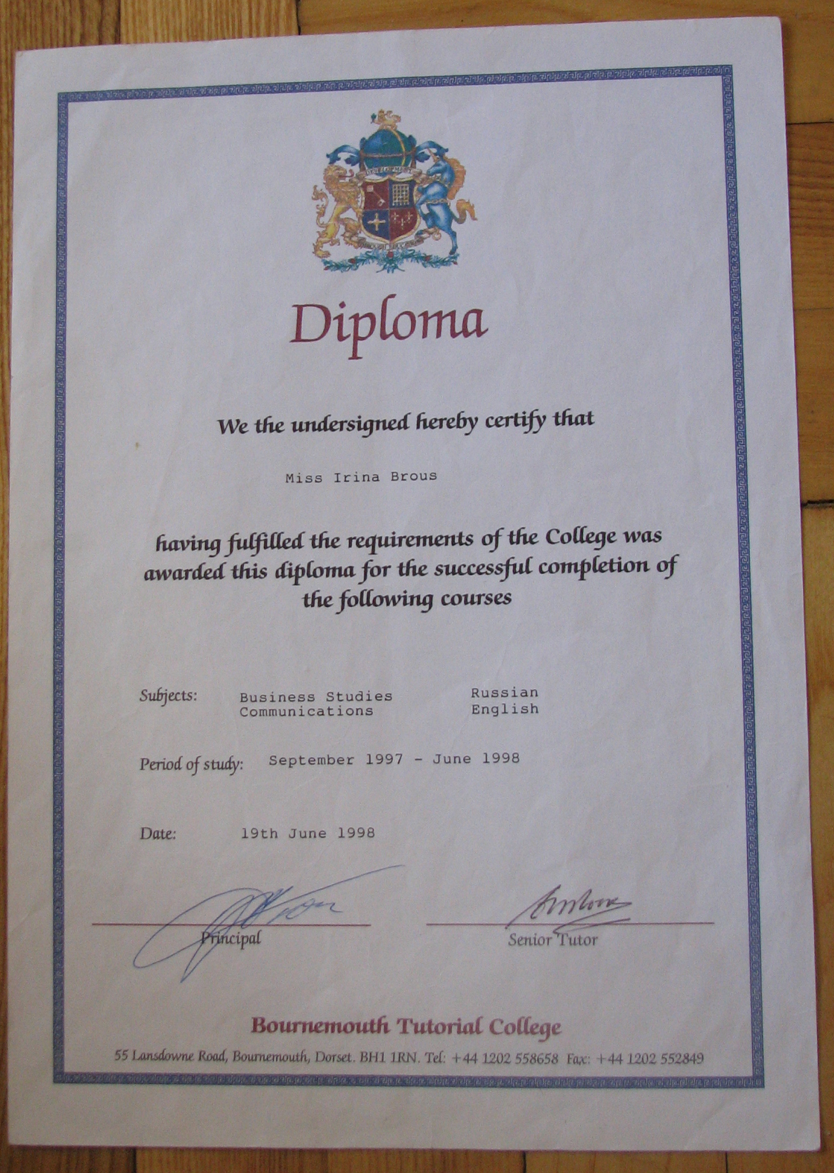 Bournemouth Tutorial College - Diploma