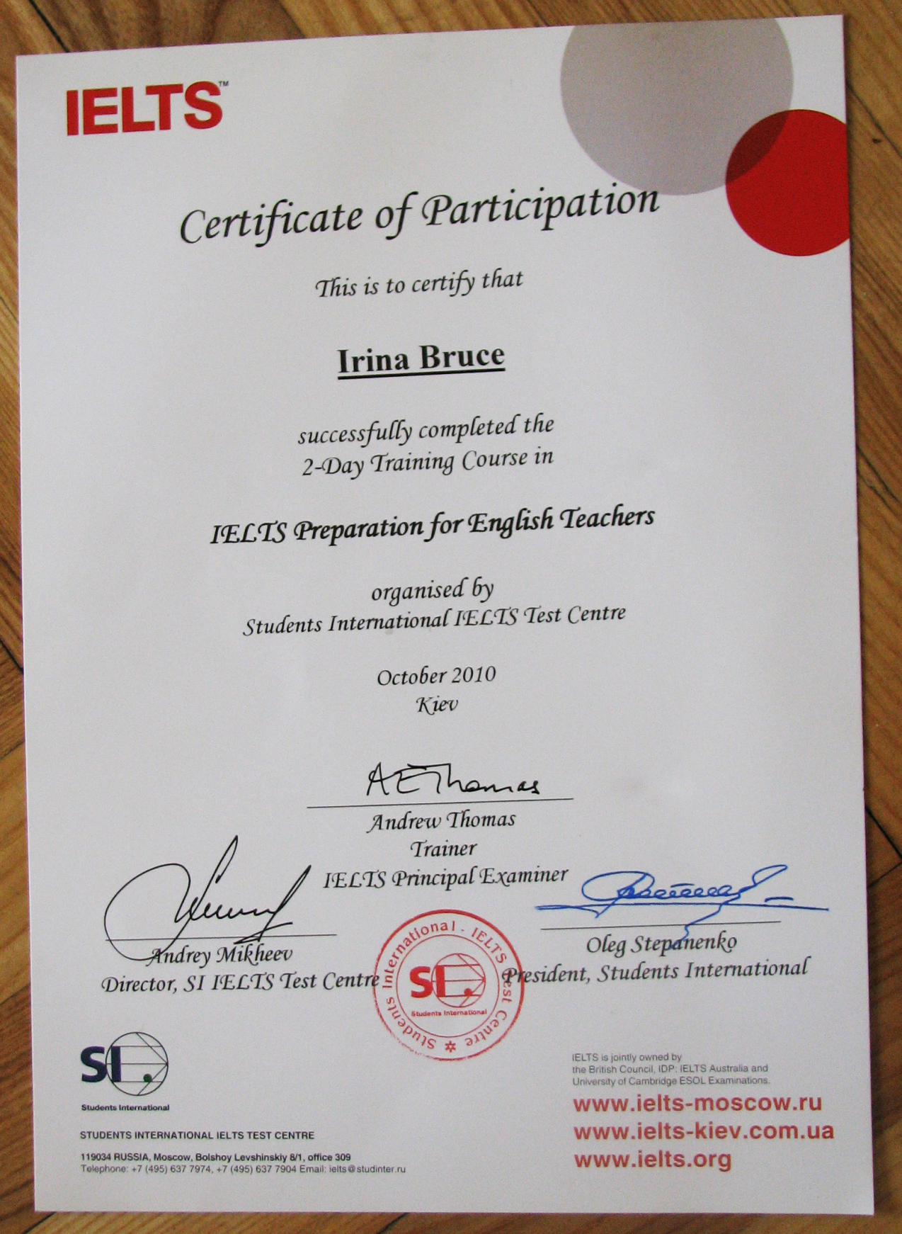 Irina Bruce - Certificate of Participation